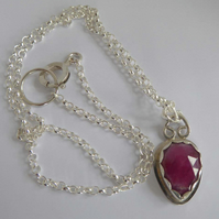Pink Sapphire silver chain rose cut cabochon pendant silver