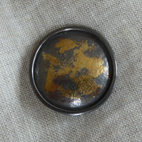 darkened Silver & 24ct gold brooch pin Keum Boo plus converter to pendant