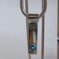 Blue Topaz Silver bar stick pendant Dec birthstone snake chain 16 or 18 inches