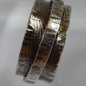 sterling silver spinner ring size T thumb ring textured hammered chunky boho