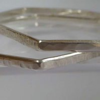 Sterling silver bangles small six sided textured finish