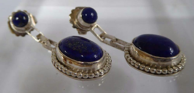 Lapis Lazuli silver drop post and scroll stud earrings