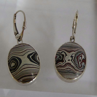 Fordite and sterling silver lever back earrings
