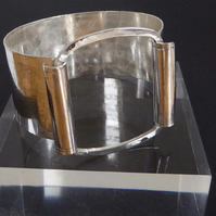Sterling silver wide latch opening cuff bangle bracelet OOAK