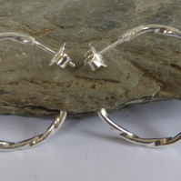 Argentium silver 935 twisted wire hoop stud earrings