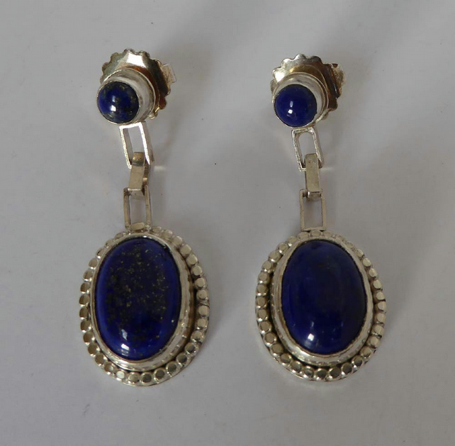 Lapis Lazuli silver drop post and scroll stud earrings artisan hallmarked