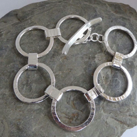 Sterling silver chunky rings bracelet toggle clasp handmade