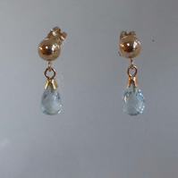 9ct gold Topaz post and scroll stud earrings
