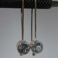 Blue Topaz silver earrings December birthstone