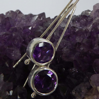 Amethyst and silver drop earrings statement earrings big 10mm stones
