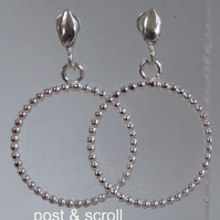 sterling silver beaded wire hoops ear wires or studs