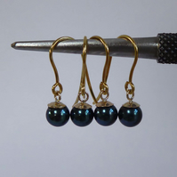 Peacock blue Akoya pearls 9ct gold earrings gift boxed