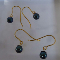 Peacock blue Akoya pearls 9ct gold earrings gift boxed small
