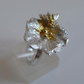 silver flower and bee ring 24ct gold Keum Boo accents size O