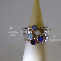Silver and 18ct gold gemstone skinny ring stacking rings Amethyst Opal Larimar
