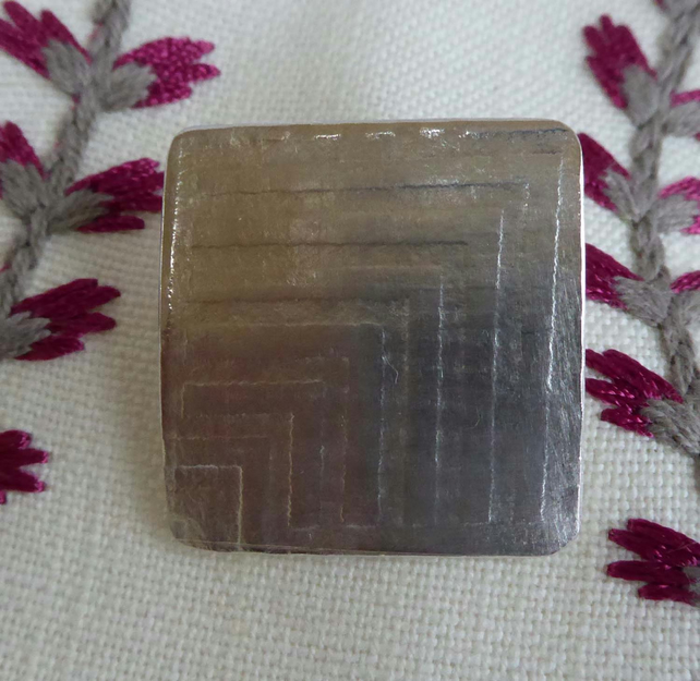 Sterling silver minimalist square textured brooch pin