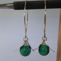 Green Malachite and silver leaves sterling silver long boho earrings