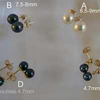 Dark Blue or White  Akoya Pearls on 9ct gold earrings post and scroll studs