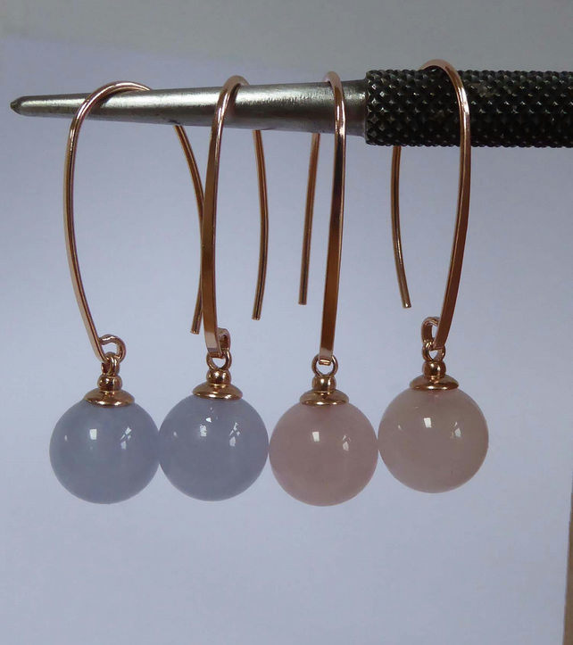 Blue Lace Agate Rose Gold Vermeil earrings