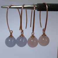 Pink Rose Quartz and Blue Lace Agate Rose Gold Vermeil earrings
