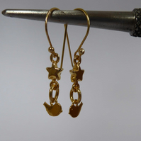Gold Vermeil Sterling Silver charm earrings star and bird love birds