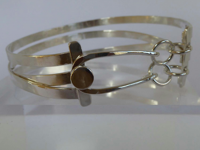 sterling silver cuff bangle forged artisan OOAK 65mm gift box Free Shipping
