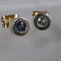 Blue Topaz silver and 9ct gold stud earrings