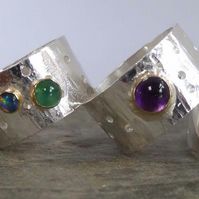 Wide sterling silver gemstone rings amethyst emerald opal ruby in gold bezels