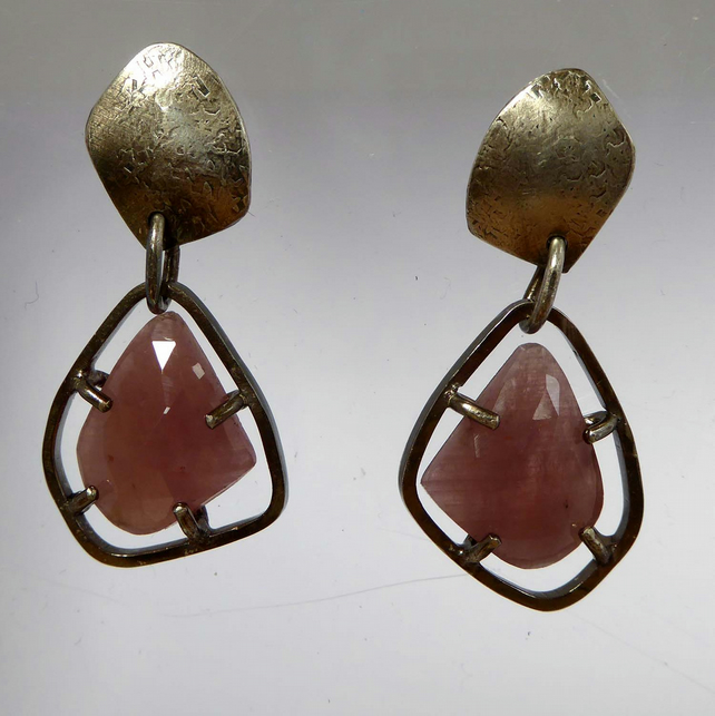 Pink Sapphire freeform darkened silver earrings 9ct gold post