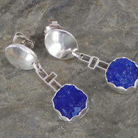 Royal blue drusy Chalcedony and silver earrings dangle & drop