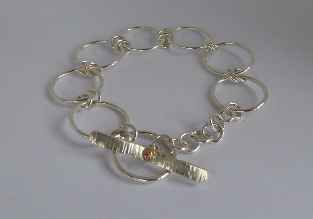 silver circles bracelet toggle clasp 14ct gold accent 8""