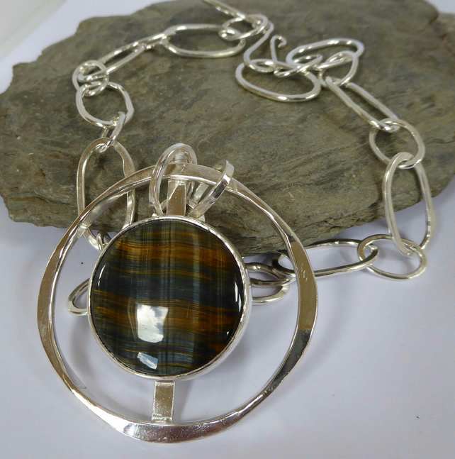 Blue Tigers Eye heavy silver pendant OOAK handmade chain statement pendant