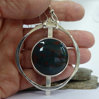 Sterling silver and Bloodstone Pendant artisan OOAK statement  FREE SHIPPING