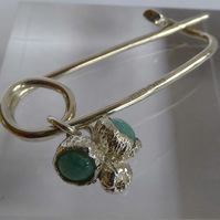 Sterling silver brooch shawl pin green Aventurine safety pin style Free Shipping
