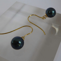 9ct gold & Peacock blue Akoya pearl earrings gift boxed free shipping