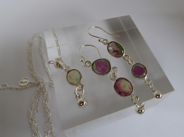 Watermelon Tourmaline silver earrings and Pendant set Free Shipping