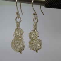 Sterling Silver wire ball earrings dangle and drop small or large