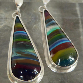 multicoloured surfite silver post and scroll earrings Free Shipping UK