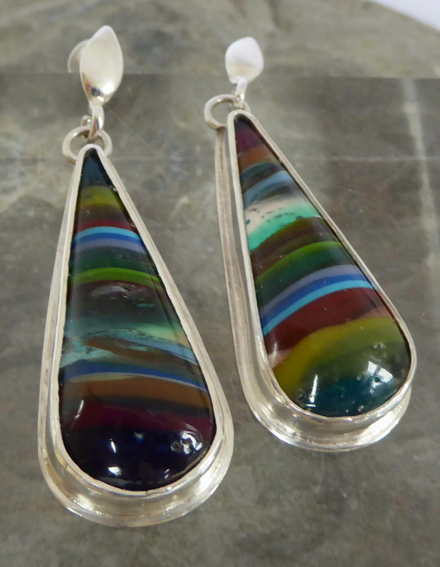 multicoloured Cornish surfite silver post and scroll earrings Free Shipping UK