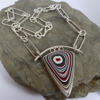 Fordite sterling silver pendant artisan design one of a kind Free Shipping UK