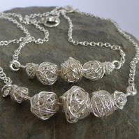 Sterling silver wire ball necklace silver chain hallmarked gift boxed Free P&P