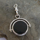 Sterling silver swivel watch fob Carnelian and Bloodstone Free Shipping UK