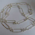 Argentium silver chain long links 22 inches one of a kind Free Shipping UK