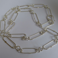 Argentium silver chain long links 22 inches Free Shipping UK