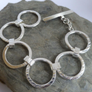 Chunky ring bracelet sterling silver and Argentium silver FREE SHIPPING