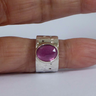 Pink Sapphire wide silver ring size J