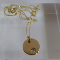 "14ct gold disc diamond pendant 9ct gold chain 16"" Free Shipping"