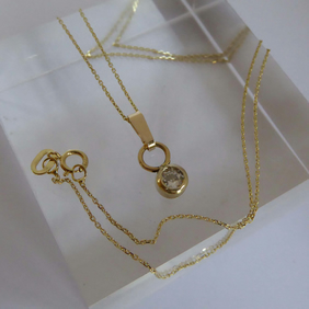 "Gold and diamond minimalist pendant necklace 16"" chain Free Shipping"
