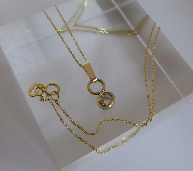 "9ct Gold and diamond minimalist pendant necklace 16"" chain Free Shipping"