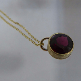 "9ct gold and Garnet pendant 16"" 9ct gold chain Free Shipping January birthstone"